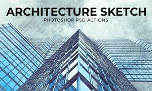 建筑物涂鸦和草图效果PSD模板
