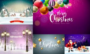 房子雪景与路灯等圣诞主题矢量素材