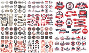 复古样式商品标签贴纸设计矢量素材