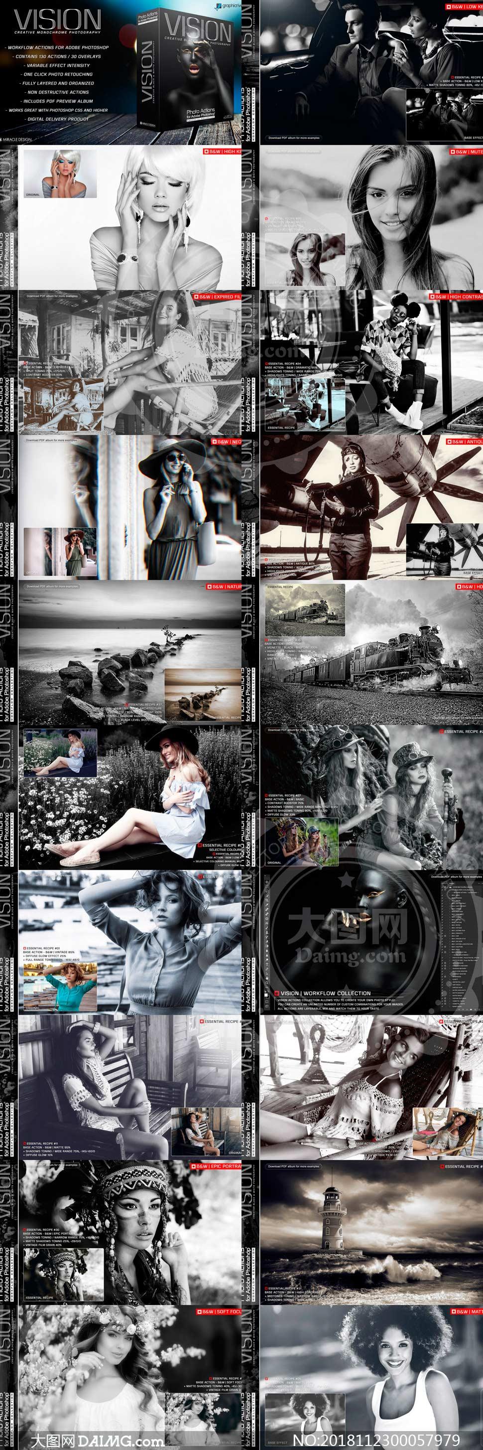 中文版专业视觉人像黑白效果PS动作