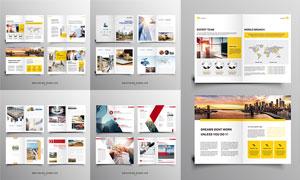 商务与交通运输等企业画册矢量素材