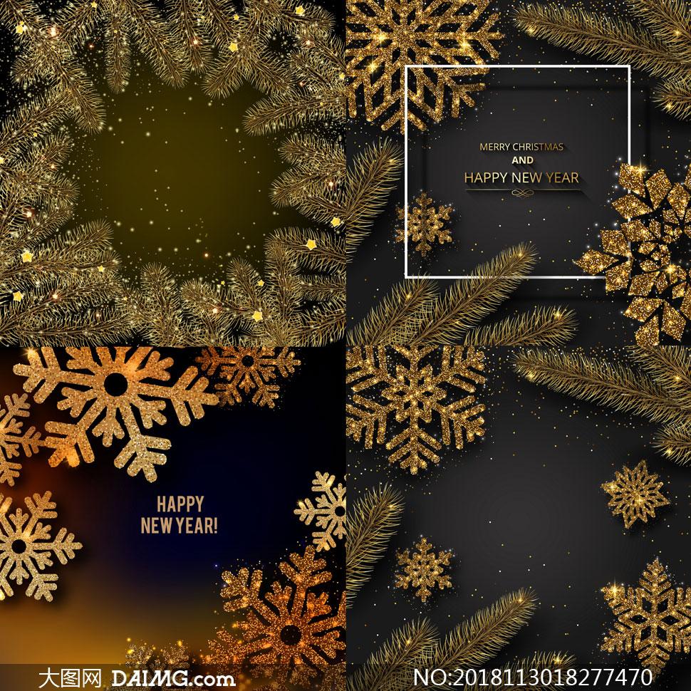 金色星光圣诞边框背景设计矢量素材
