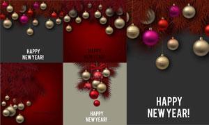 圣诞节的金色质感挂球主题矢量素材