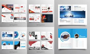 红色与蓝色的公司画册设计矢量素材