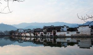 安徽美丽的宏村全景摄影图片