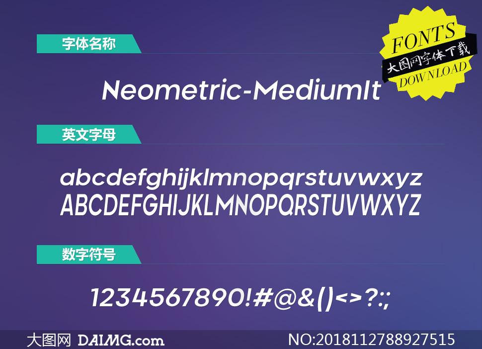 Neometric-MediumItalic(英文字体)