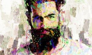 人像添加油漆涂抹绘画特效PS动作