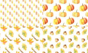 秋天树叶与南瓜灯元素无缝背景图片