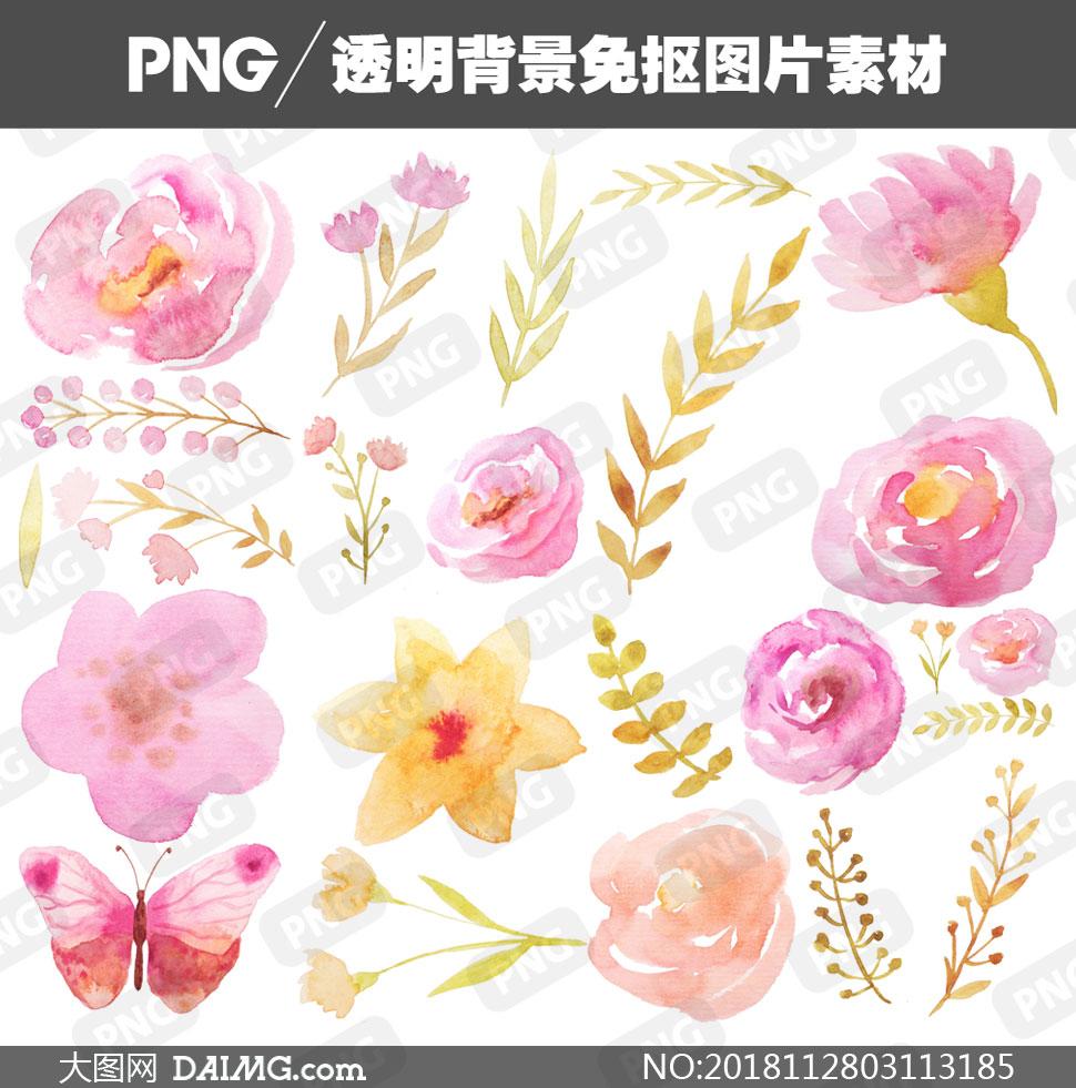 金秋樹葉與粉色的花朵主題免摳圖片