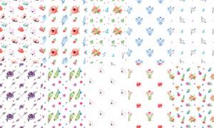 花花草草元素无缝拼接图案背景素材