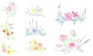 水彩效果花草裝飾精細圖層分層素材