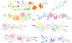 水彩效果粉紅花束裝飾元素分層素材