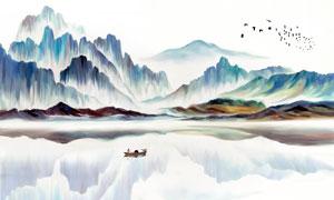 手绘山水画背景设计图片素材