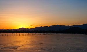 北京昆明湖黄昏景观摄影图片