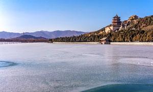 冬季颐和园昆明湖景观摄影图片