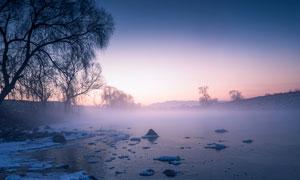 冬季野外美丽的雾凇美景摄影图片