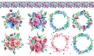 水彩花朵花束装饰边框设计高清图片