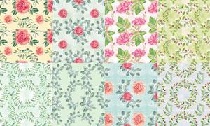 无缝平铺水彩花朵背景设计高清图片