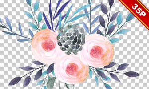 水彩花卉植物边框创意设计免抠素材