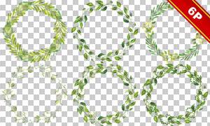 水彩花草藤蔓元素圆形边框免抠素材