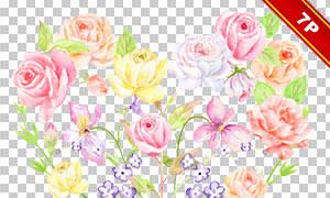 水彩绿叶藤蔓与玫瑰花边框免抠素材
