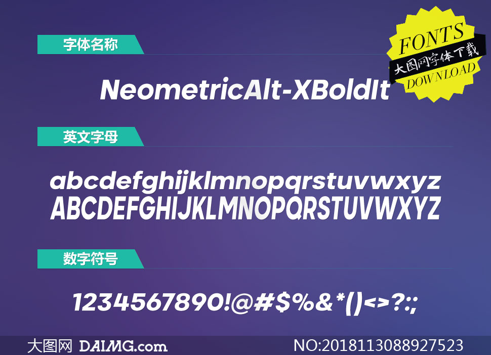 NeometricAlt-ExtraBoldIt(英文字体)