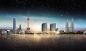 城市建筑海報背景設計PSD素材