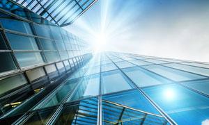 建筑玻璃幕墙仰视角度摄影高清图片