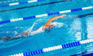 在泳池中奋力往前游的人物高清图片