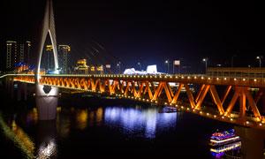 重庆千厮门大桥美丽夜景摄影图片