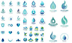 绿色与蓝色的水滴形状标志矢量素材