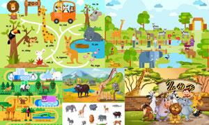 动物园里的卡通小动物设计矢量素材