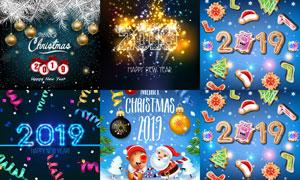 圣诞新年与光效装饰的数字矢量素材