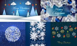 悬挂的雪花元素圣诞节创意矢量素材