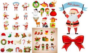 圣诞老人与驯鹿等圣诞元素矢量素材