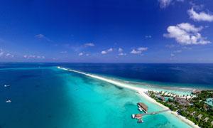 美丽的海岸线俯视摄影图片