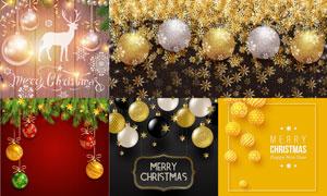 挂球松枝与雪花等元素圣诞矢量素材
