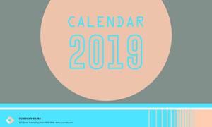 横版样式的2019年挂历设计矢量素材