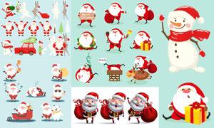 多姿势的圣诞老人卡通设定矢量素材