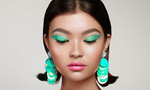 画绿色眼影的浓妆美女摄影高清图片