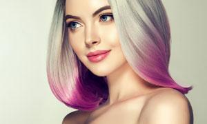 红唇妆容紫色秀发美女摄影高清图片