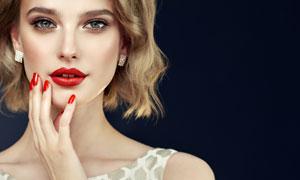 红唇浓妆短发造型美女摄影高清图片