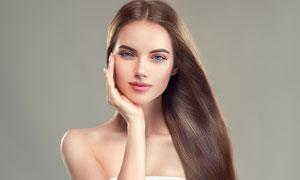 中分顺滑长发美女人物摄影高清图片