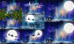 明亮的圆月主题梦幻圣诞节矢量素材