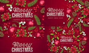 圣诞球等红色圣诞装饰元素矢量素材
