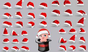 质感效果的圣诞帽主题设计矢量素材