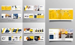 黄色主配色的画册版式设计矢量素材