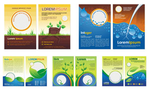 青草与绿叶等广告宣传彩页矢量素材