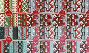 无缝拼接圣诞主题背景设计矢量素材