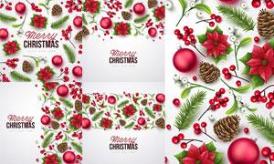红花绿叶等圣诞节主题创意矢量素材